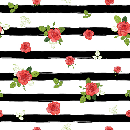 stripe: Vector vintage red roses and leaves on black striped background seamless repeat pattern.