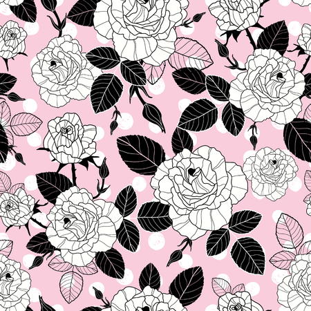 polkadot: Vector vintage black and pink roses and leaves on polka dot background seamless repeat pattern.