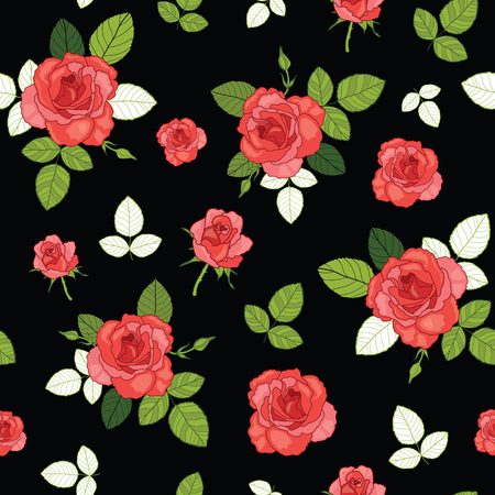 Vector vintage red roses and leaves on black background seamless repeat pattern.