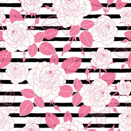 Vector vintage pink roses and leaves on black striped background seamless repeat pattern.