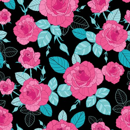 Vector vintage pink roses and blue leaves on black background seamless repeat pattern.