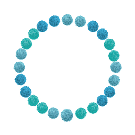 Vector Blue Birthday Party Pom Poms Circle Set and Round Frame. Great for handmade cards, invitations, wallpaper, packaging, nursery designs. Home decor elements.