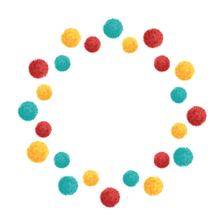 pom pom: Vector Double Colorful Vibrant Birthday Party Pom Poms Circle Set and Round Frame. Great for handmade cards, invitations, wallpaper, packaging, nursery designs. Home decor elements.