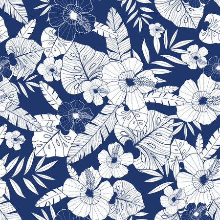 Vector blue drawing tropical summer hawaiian seamless pattern with tropical plants, leaves, and hibiscus flowers. Vectores