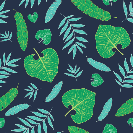 Vector dark tropical summer hawaiian seamless pattern with tropical green plants and leaves on navy blue background. Illustration