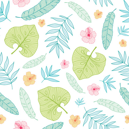 Vector light tropical summer hawaiian seamless pattern with tropical plants, leaves, and hibiscus flowers on white background.
