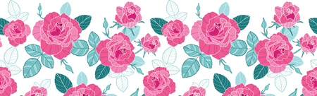 petal: Vector vintage pink roses and blue leaves on white background horizontal seamless repeat pattern border.