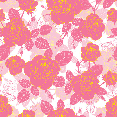Vector vintage pink and yellow gold roses and leaves on white background seamless repeat pattern texture.
