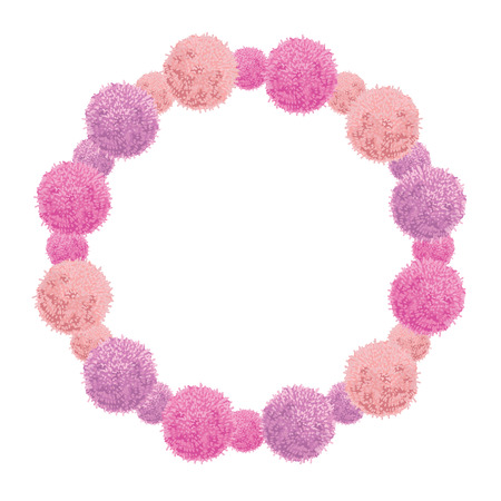 rope folk: Vector Pink Baby Girl Birthday Wreath Party Pom Poms Circle Set and Round Frame.