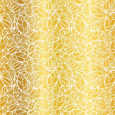 Vector gold and white leaves texture seamless repeat pattern background.