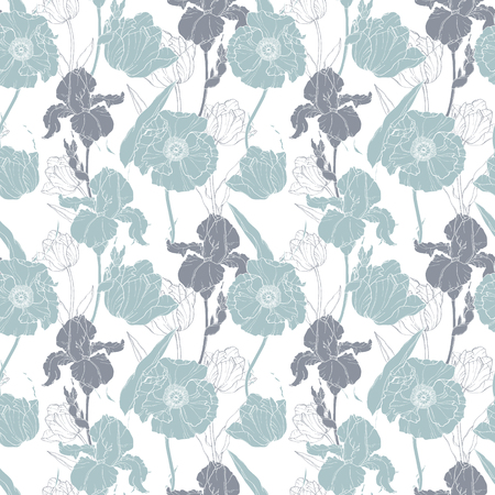 victorian wallpaper: Vector silver grey poppies and tulips floral seamless repeat pattern background. Illustration