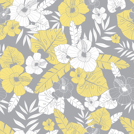 Vector light yellow and grey drawing tropical summer hawaiian seamless pattern. Illustration
