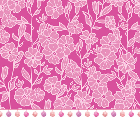 bobble: Vector pompom border trim on pink flowers seamless repeat pattern design background print. Perfect for clothing, fabric, home decor, wrapping projects.