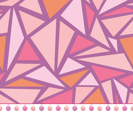 pom: Vector pompom border trim on pink triangles mosaic seamless repeat pattern design background print. Perfect for clothing, fabric, home decor, wrapping projects. Illustration