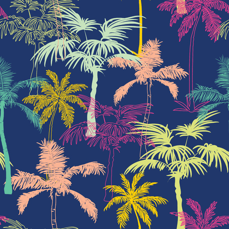 Vector Dark Blue Colorful Geometric Palm Trees Repeat Seamless Pattern Background. Can Be Used For Fabric, Wallpaper, Stationery, Packaging.