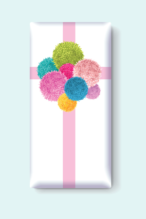 Vector Gift Box With a Bunch of Colorful Baby Kids Birthday Party Pom Poms Element. Great for handmade cards, invitations, wallpaper, packaging, nursery designs.