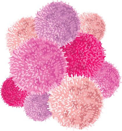 Vector Chunky Bunch of Pink Baby Girl Birthday Party Pom Poms Element. Great for handmade cards, invitations, wallpaper, packaging, nursery designs. Illustration
