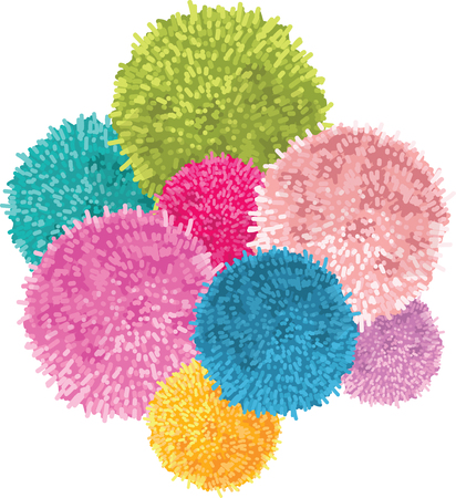 bobble: Vector Bunch of Colorful Baby Kids Birthday Party Pom Poms Element. Great for handmade cards, invitations, wallpaper, packaging, nursery designs.