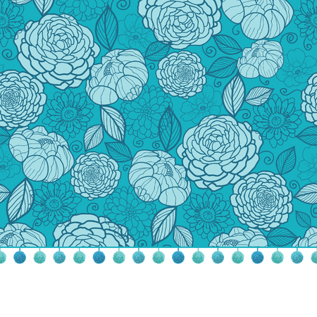 bobble: Vector pompom border trim on blue flowers seamless repeat pattern design background print. Perfect for clothing, fabric, home decor, wrapping projects. Illustration