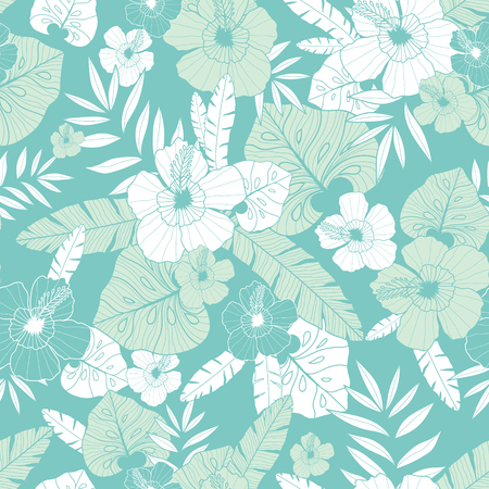 Vector light green and blue tropical summer hawaiian seamless pattern with tropical plants, leaves, and hibiscus flowers. Great for vacation themed fabric, wallpaper, packaging.