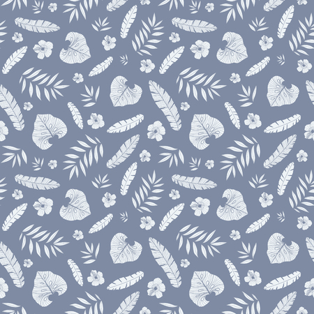 Vector dark grey tropical summer hawaiian seamless pattern with tropical plants, leaves, and hibiscus flowers on white background. Great for vacation themed fabric, wallpaper, packaging. Illustration