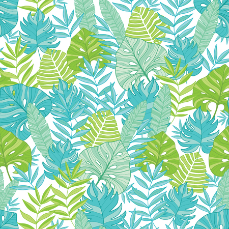 Vector blue green tropical leaves summer hawaiian seamless pattern with tropical plants and leaves on navy blue background. Great for vacation themed fabric, wallpaper, packaging. Illustration