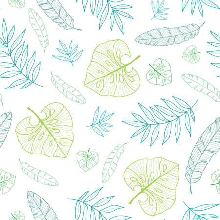 themed: Vector tropical drawing summer hawaiian seamless pattern with tropical green plants and leaves on navy blue background. Great for vacation themed fabric, wallpaper, packaging.