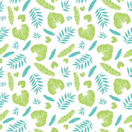 Vector light tropical summer hawaiian seamless pattern with tropical green plants and leaves on navy blue background. Great for vacation themed fabric, wallpaper, packaging.