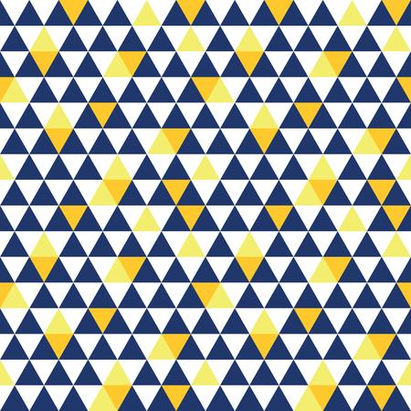 Vector marine blauw en geel driehoek textuur naadloze herhaling patroon achtergrond. Perfect voor moderne stoffen, behang, verpakkingen, kantoorartikelen, huisinrichting projecten. Oppervlakte patroon ontwerp. Stockfoto - 81968328