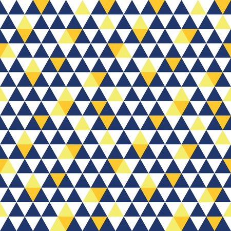 Vector navy blue and yellow triangle texture seamless repeat pattern background. Perfect for modern fabric, wallpaper, wrapping, stationery, home decor projects. Surface pattern design. Illustration