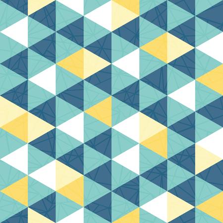 Vector blauwe en gele driehoek textuur naadloze herhaling patroon achtergrond. Perfect voor moderne stoffen, behang, verpakkingen, kantoorartikelen, huisinrichting projecten. Oppervlakte patroon ontwerp.