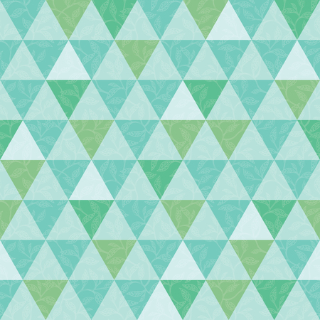 Vector blue and green triangle and leaves texture seamless repeat pattern background. Perfect for modern fabric, wallpaper, wrapping, stationery, home decor projects. Surface pattern design.