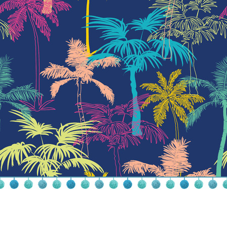 Vector Pompom Border Trim On Dark Blue Colorful Geometric Palm Trees Repeat Seamless Pattern Background. Can Be Used For Fabric, Wallpaper, Stationery, Packaging. Can Be Used For Fabric, Wallpaper, Stationery, Packaging. Textile design.