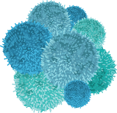 Vector Chunky Bunch of Blue Baby Boy Birthday Party Pom Poms Element. Great for handmade cards, invitations, wallpaper, packaging, nursery designs. Home decor elements. Illustration
