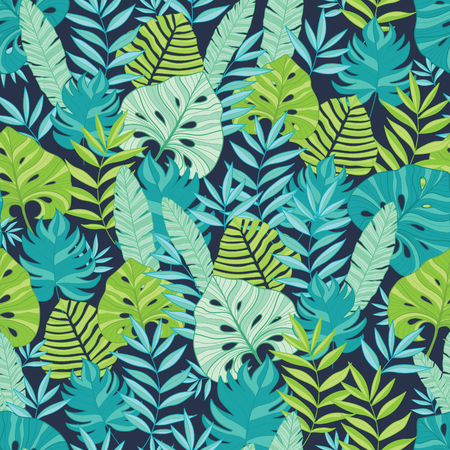 themed: Vector green and navy blue scattered tropical summer hawaiian seamless pattern with tropical green plants and leaves on dark background. Great for vacation themed fabric, wallpaper, packaging. Surface pattern design.