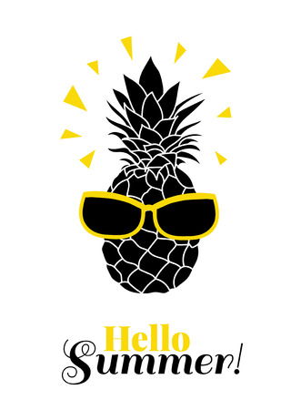 Hello Summer! Vector pineapple wearing colorful sunglasses on summer vacation tropical lement. Great for vacation themed prints, gifts, packaging.