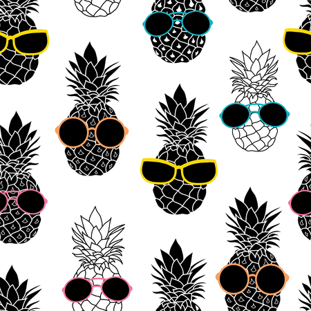 Vector pineapples wearing colorful sunglasses summer vacation tropical seamless pattern. Great for vacation themed fabric, wallpaper, packaging. Illustration