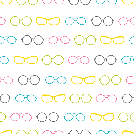 Vector colorful glasses accessories stripes seamless pattern. Great for eyewear themed fabric, wallpaper, packaging.