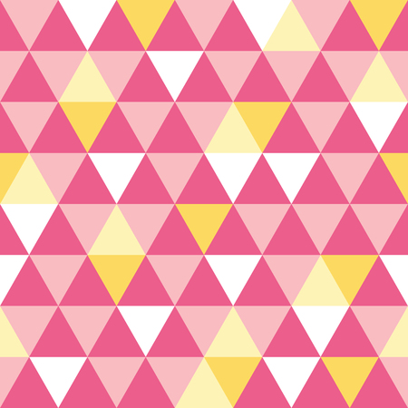 Vector pink and yellow triangle texture seamless repeat pattern background. Perfect for modern fabric, wallpaper, wrapping, stationery, home decor projects. Illustration