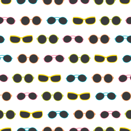 Vector dark colorful sunglasses stripes summer vacation seamless pattern. Great for vacation themed fabric, wallpaper, packaging. Surface pattern design.