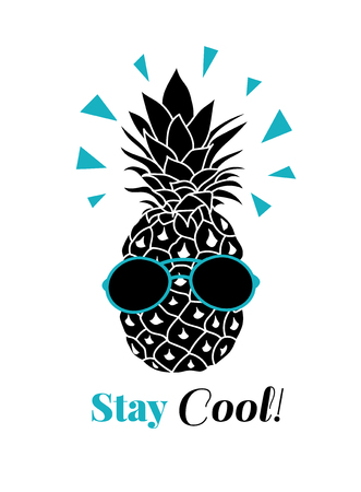Stay cool vector pineapple wearing colorful sunglasses on summer vacation tropical lement. Great for vacation themed prints, gifts, packaging. Fun illustration.