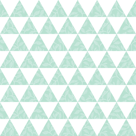 Vector mint green triangles and leaves texture seamless repeat pattern background. Perfect for modern fabric, wallpaper, wrapping, stationery, home decor projects. Surface pattern design.