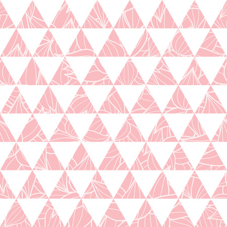Vector salmon pink triangles and leaves texture seamless repeat pattern background. Perfect for modern fabric, wallpaper, wrapping, stationery, home decor projects. Illustration