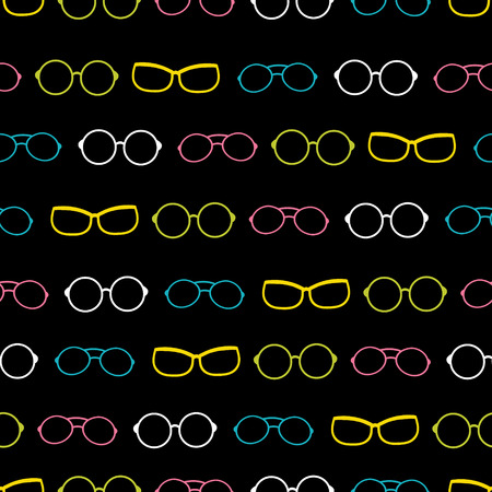 Vector colorful on black glasses accessories stripes seamless pattern. Great for eyewear themed fabric, wallpaper, packaging. Illustration