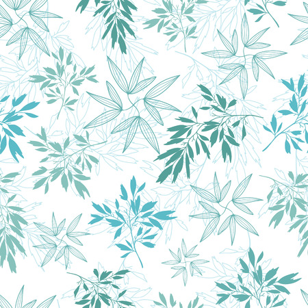 Vector teal tropical leaves summer seamless pattern with tropical green, blue plants and leaves on white background. Great for vacation themed fabric, wallpaper, packaging. Illustration