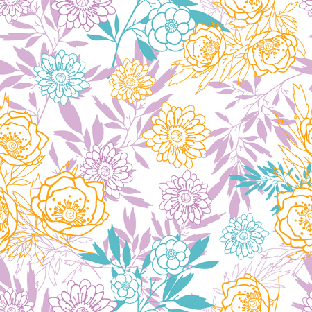 Vector pink, yellow, blue leaves and flowers summer seamless pattern with pastel plants and leaves on white background. Great for vacation themed fabric, wallpaper, packaging.