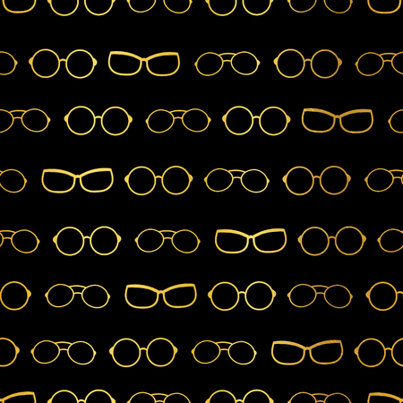 Vector black and gold glasses stripes accessories seamless pattern. Great for eyewear themed fabric, wallpaper, packaging. Illustration