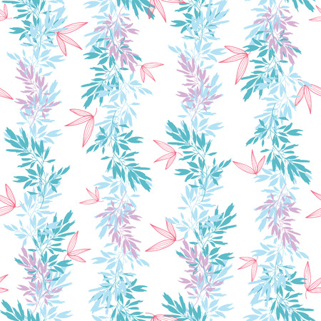 Vector blue pink tropical leaves summer vertical seamless pattern borders set with tropical pink, blue plants and leaves on white background. Great for vacation themed fabric, wallpaper, packaging. Illustration