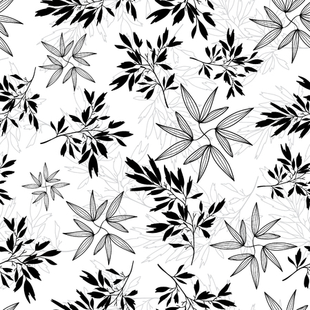 Vector black and white tropical leaves summer seamless pattern with tropical plants and leaves on white background. Great for vacation themed fabric, wallpaper, packaging. Illustration