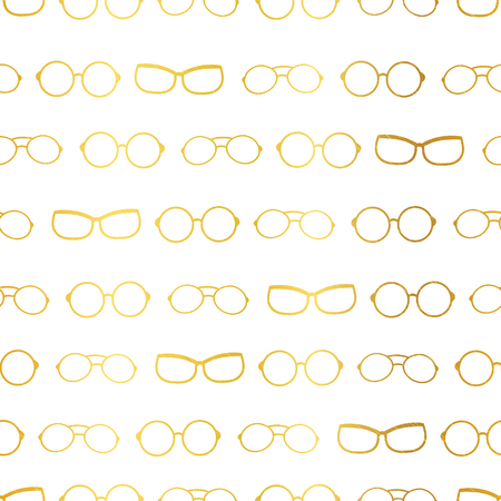 Vector white and gold glasses accessories horizontal borders, stripes seamless pattern. Great for eyewear themed fabric, wallpaper, packaging.